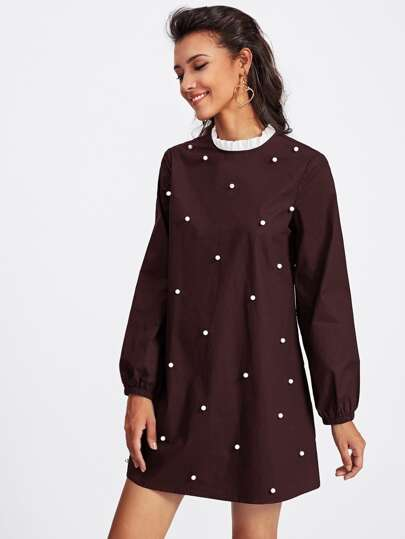 Contrast Frill Neck Pearl Embellished Dress