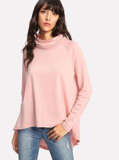 Cowl Neck Split Back High Low Sweatshirt