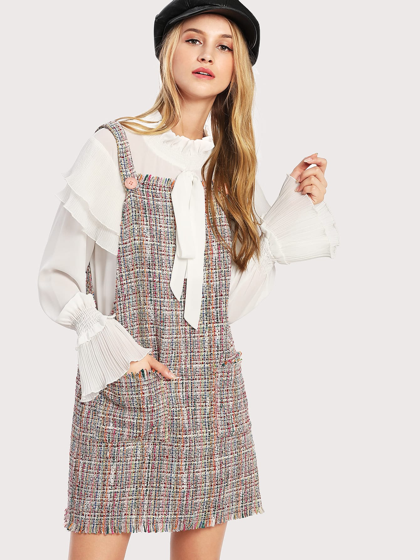 Fringe Trim Tweed Overall Dress overall yumi overall