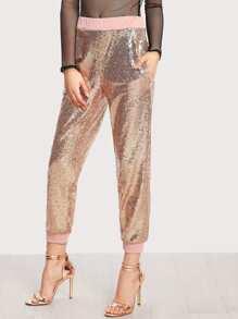 Pantalones con ribete en contraste con lentejuela