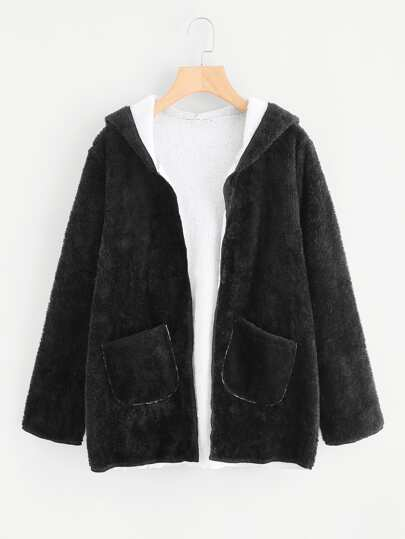 Dual Pocket Faux Fur Hooded Coat