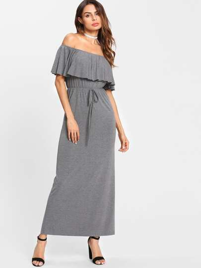 Heather Knit Flounce Off Shoulder Dress