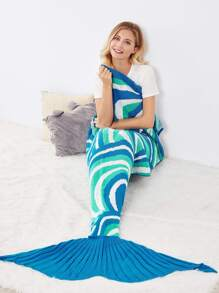 Color Block Textured Fish Tail Mermaid Blanket