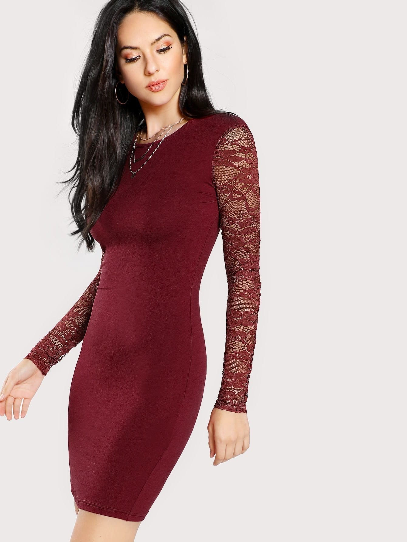 Solid Pencil Dress With Lace Sleeve