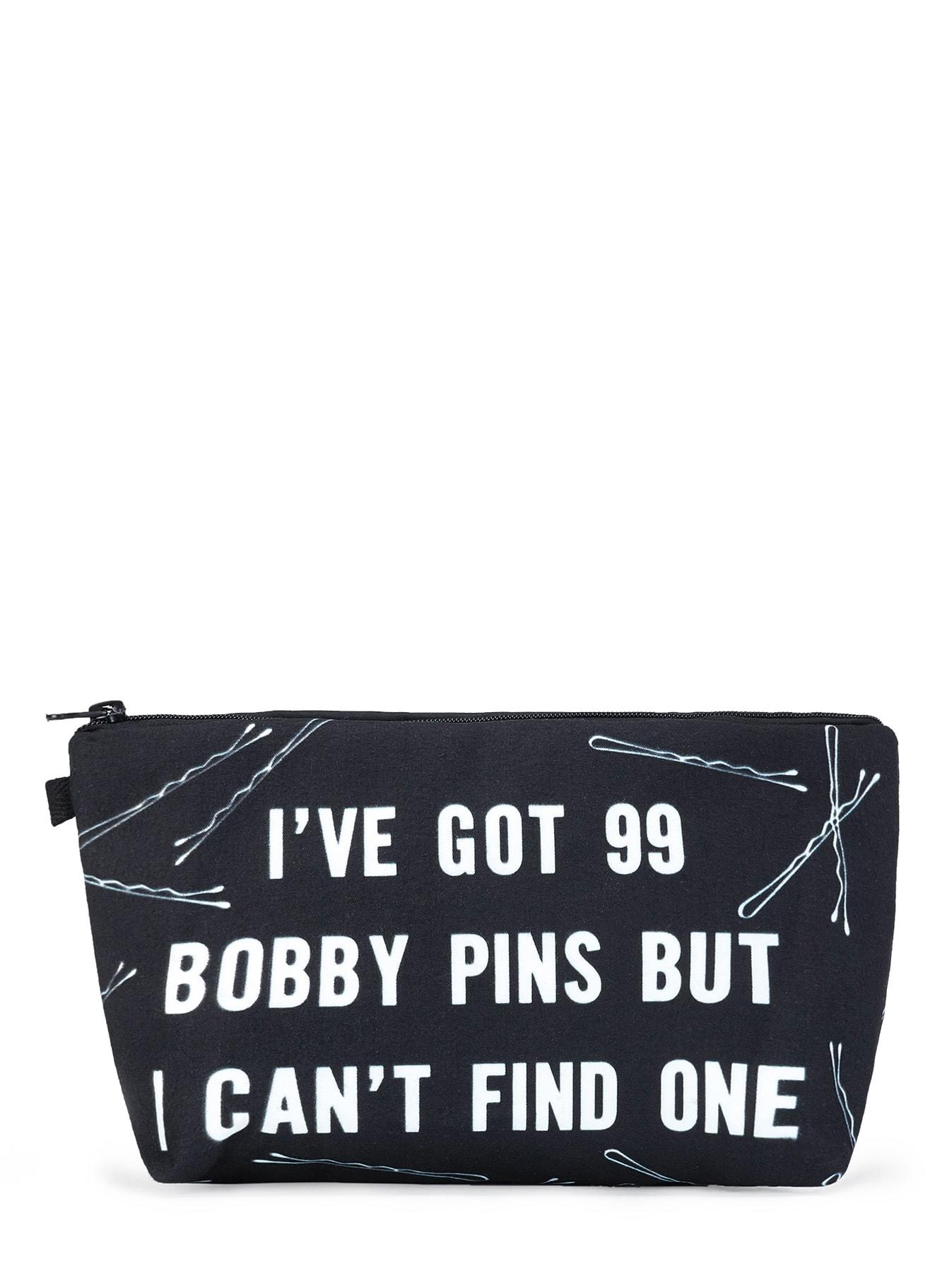 Slogan & Pin Print Makeup Bag