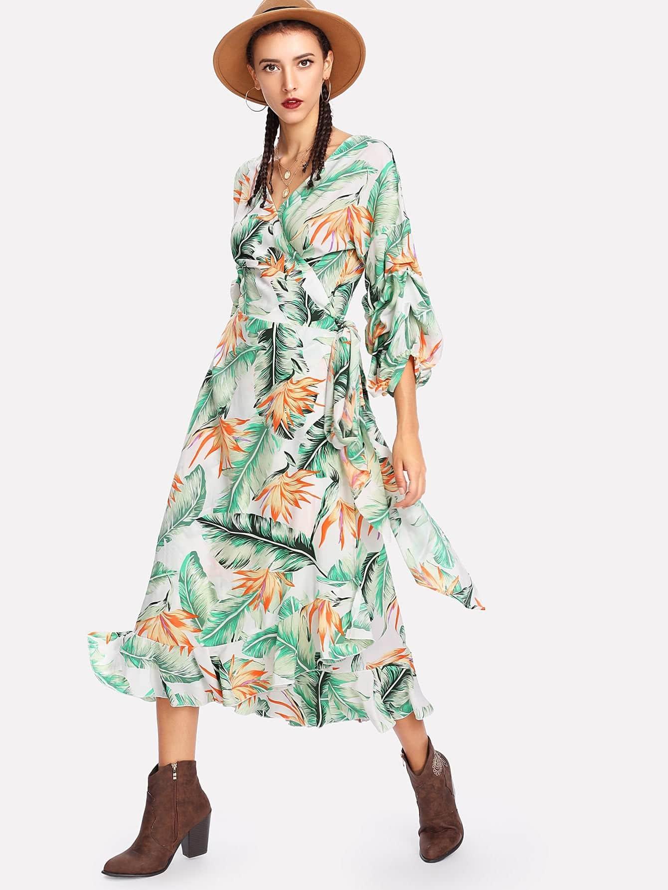 Gathered Sleeve Ruffle Detail Tropical Wrap Dress cold shoulder ruffle detail pinstripe wrap dress