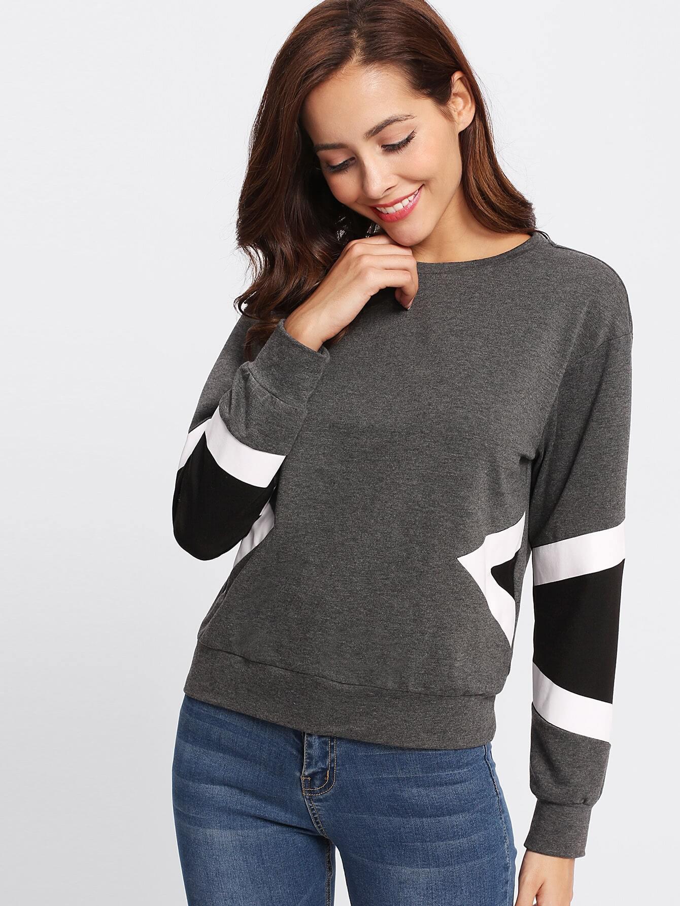 Chevron Print Heather Knit Pullover rabbit print pullover