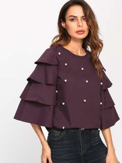 Tiered Bell Sleeve Pearl Embellished Blouse