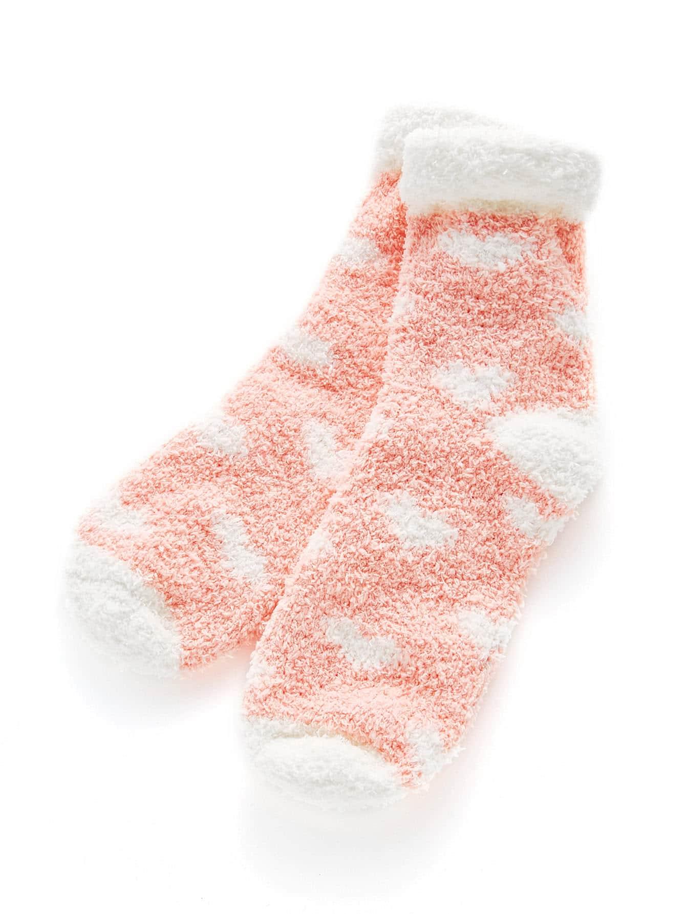 Roll Up Trim Heart Pattern Socks