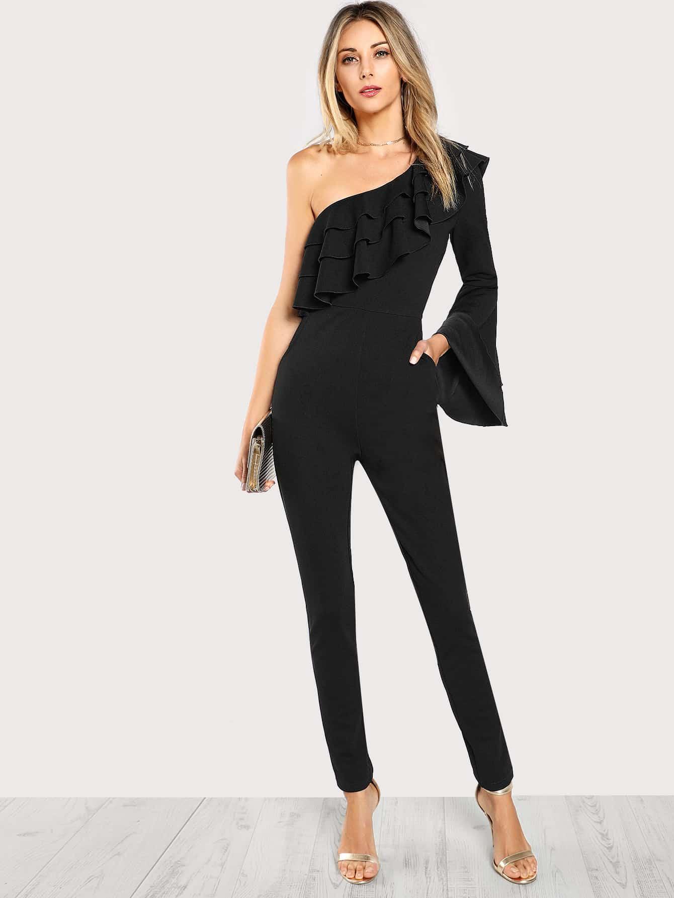 Asymmetrical Shoulder Layered Bell Sleeve Jumpsuit black one shoulder frill layered design jumpsuit