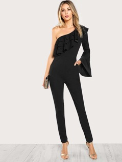 Asymmetrical Shoulder Layered Bell Sleeve Jumpsuit