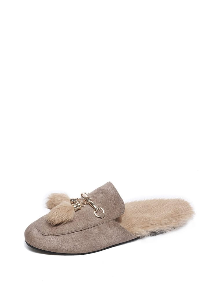 Double Pom Pom Decorated Suede Flats