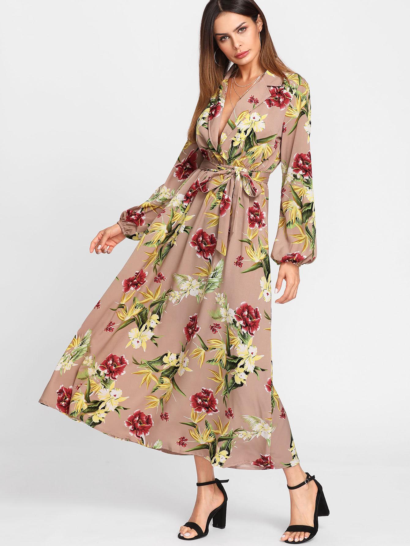Купить Модное платье с запахом и цветочным принтом, рукав-фонарик, Andy, SheIn