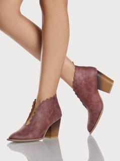 Front Cut Out Wavy Hem Booties ROSE TAUPE