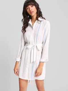 Self Belted Striped Shirt Dress
