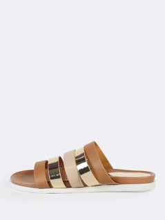 Strappy Cut Out Sandals TAN