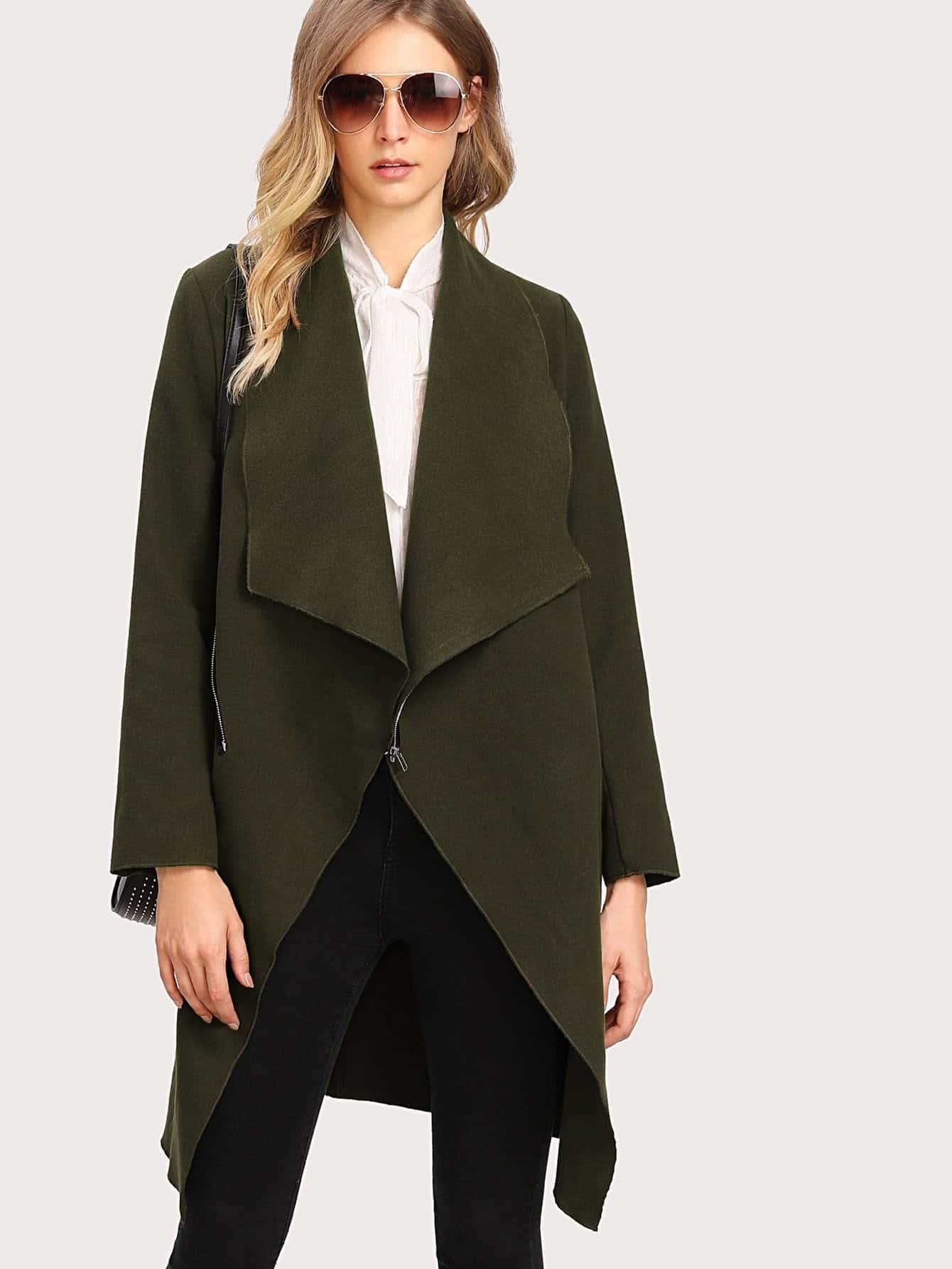Asymmetric Zip Shawl Collar Coat zip back shawl collar knot jumpsuits