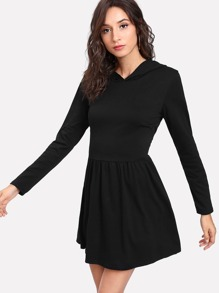 Lace Up Back Hooded Dress