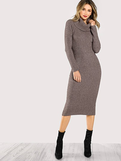 Turtleneck Ribbed Long Sleeve Midi Dress MOCHA