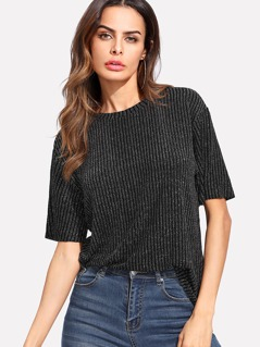 Ribbed Knit Glitter Top