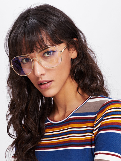 Double Bridge Metal Frame Glasses