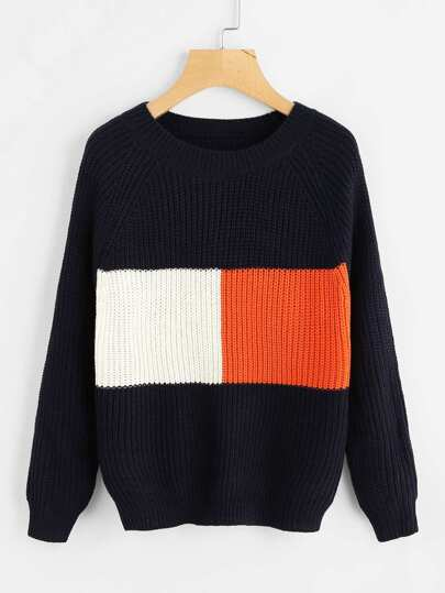 Raglan Sleeve Color Block Knit Sweater
