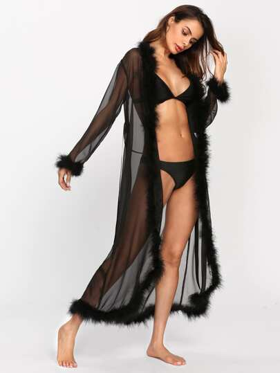 Contrast Faux Fur Trim Sheer Mesh Robe