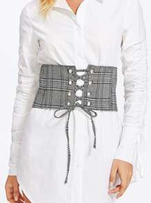 Lace Up Plaid Belt