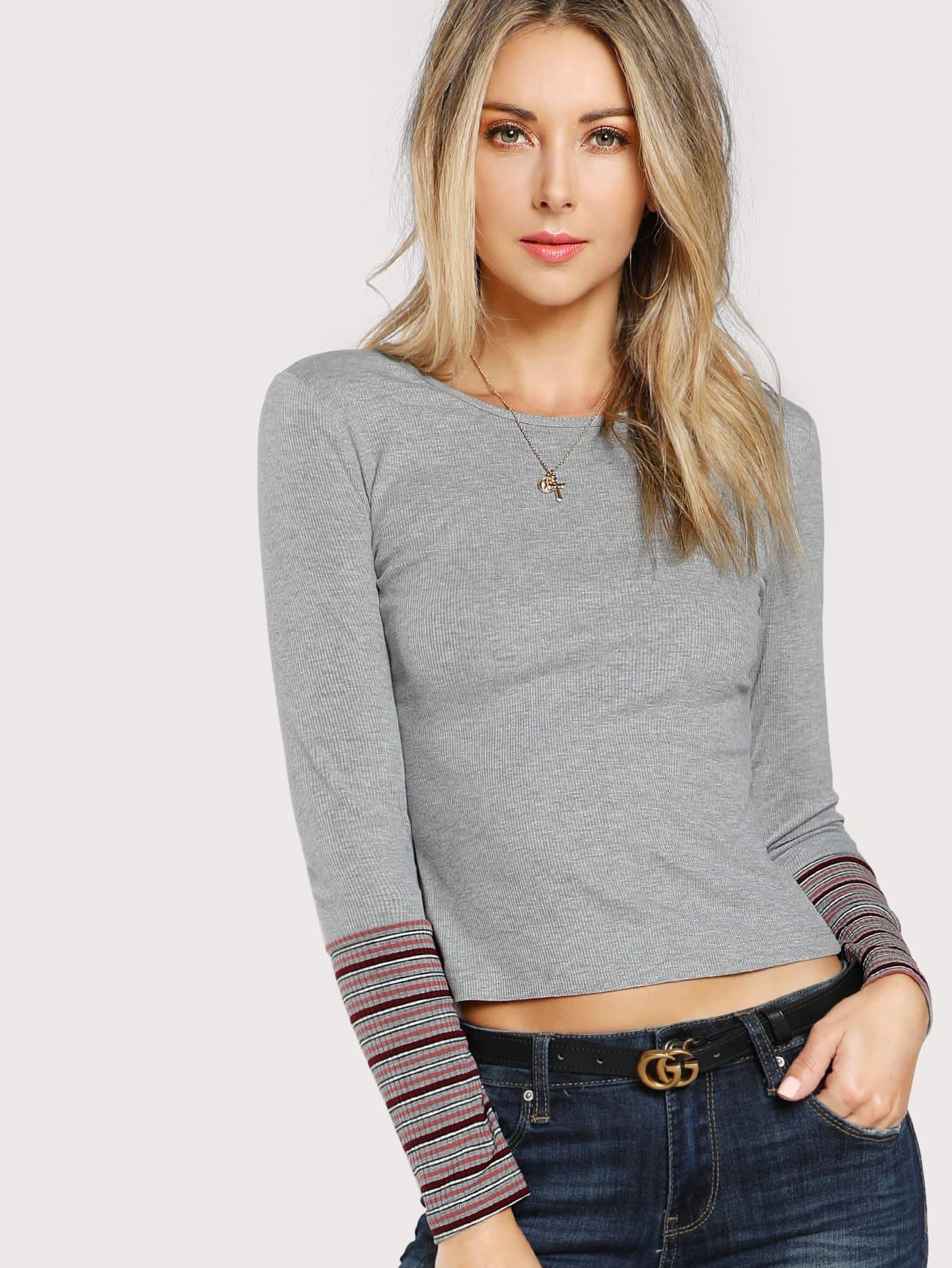 Striped Cuff Form Fit T Shirt Emmacloth Women Fast Fashion