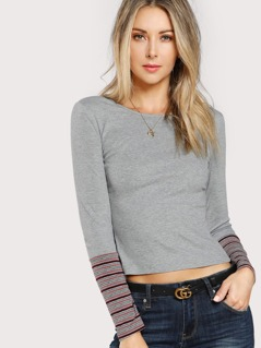 Striped Cuff Form Fit T-shirt