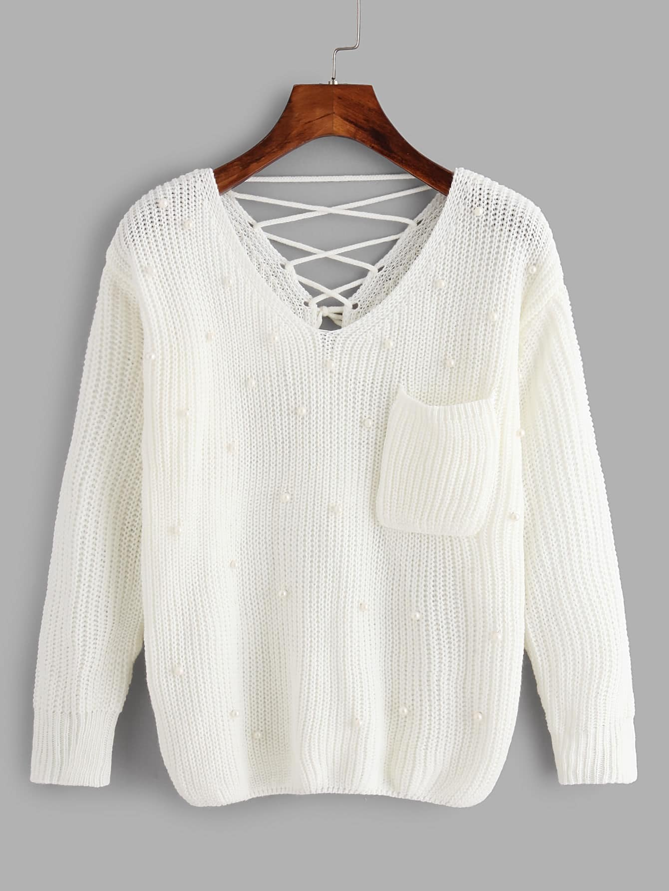 Double Plunge Criss Cross Back Chunky Knit Jumper sweater171115071