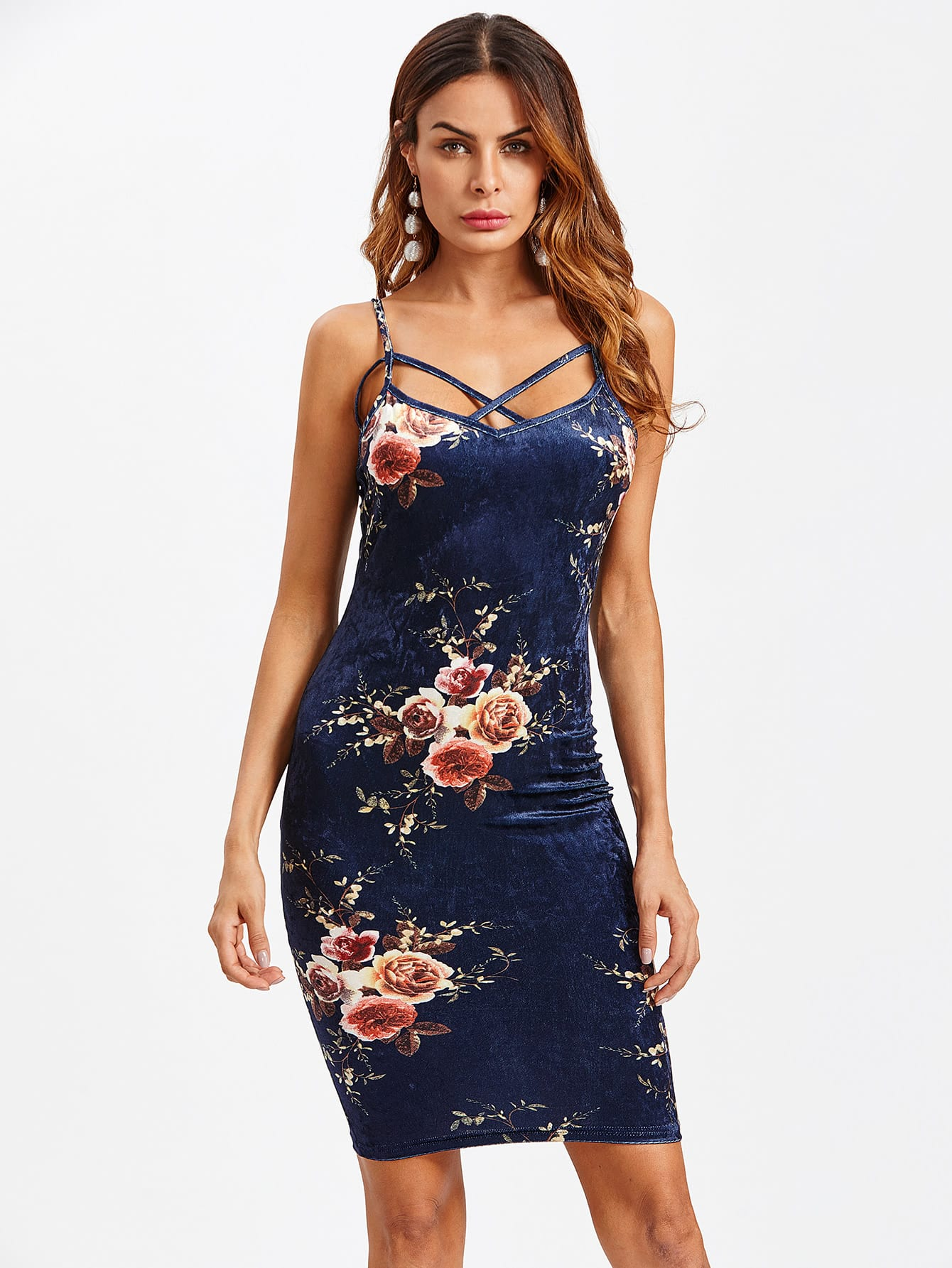 Crisscross Front Floral Crushed Velvet Cami Dress