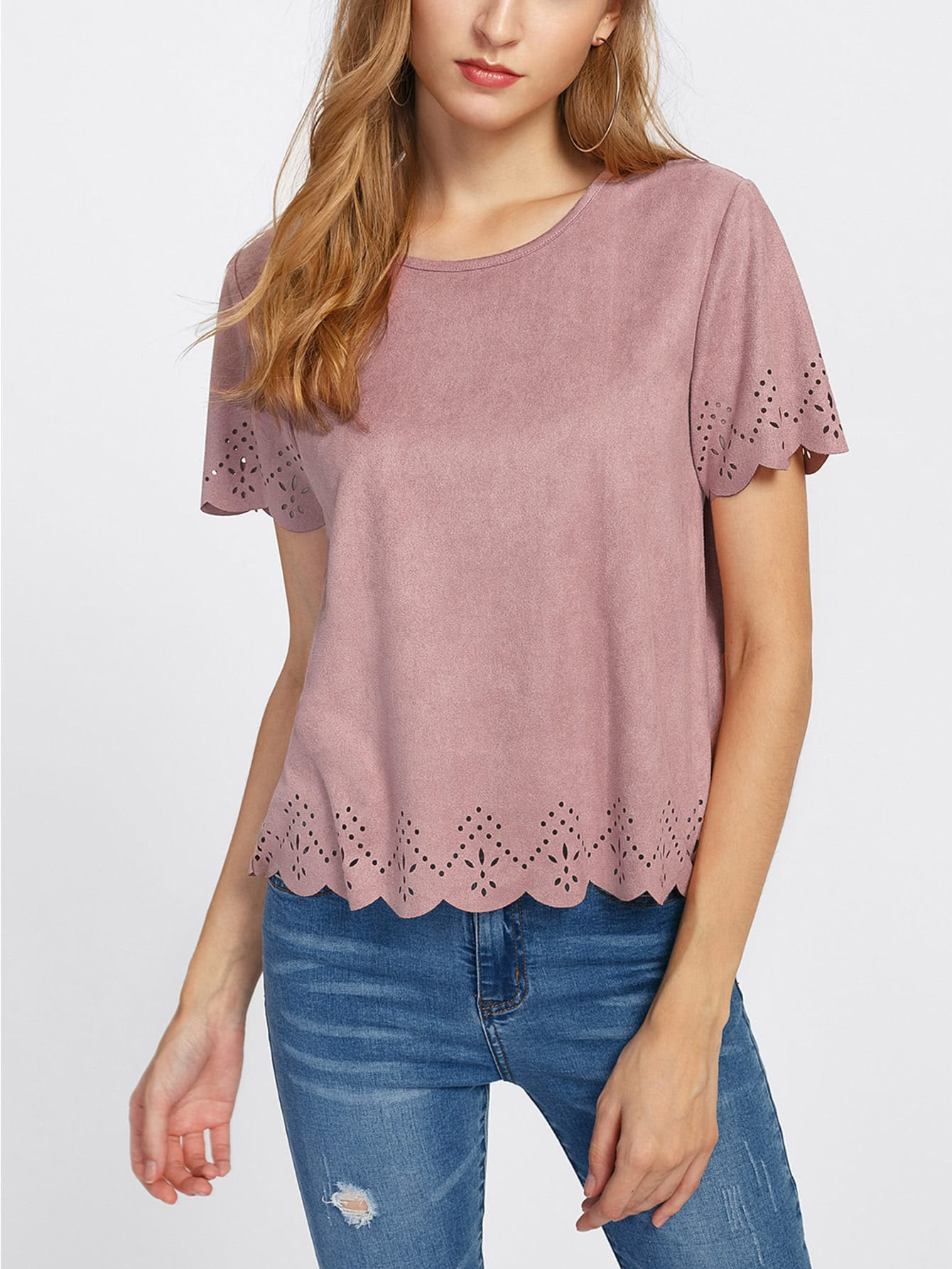 Scalloped Laser Cut Faux Suede Blouse bow detail fluted sleeve laser cut scalloped blouse