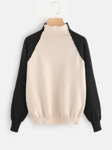 Contrast Raglan Sleeve Elbow Patch Sweater
