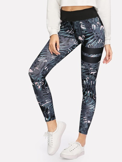 Flamingo Print Varsity Striped Leggings