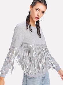 Sequin And Fringe Embellished Sweatshirt