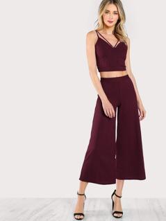 Cut Out Crop Top & Matching Pants Set WINE