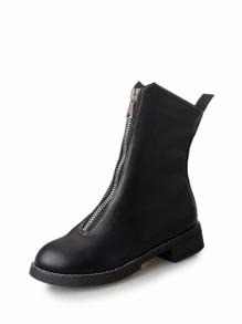Zipper Front Flat Boots