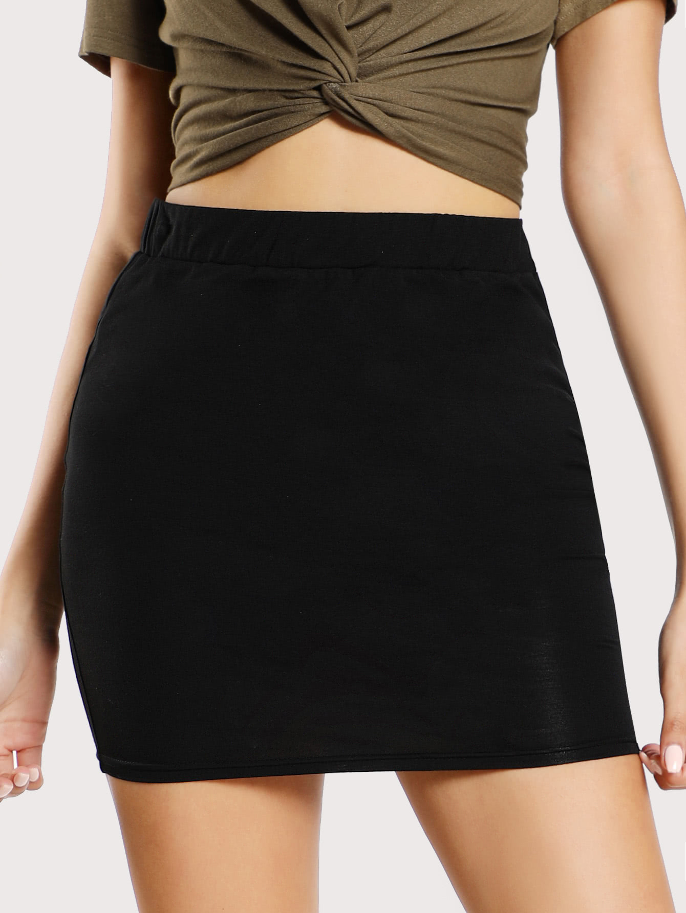 Elastic Waist Bodycon Jersey Skirt