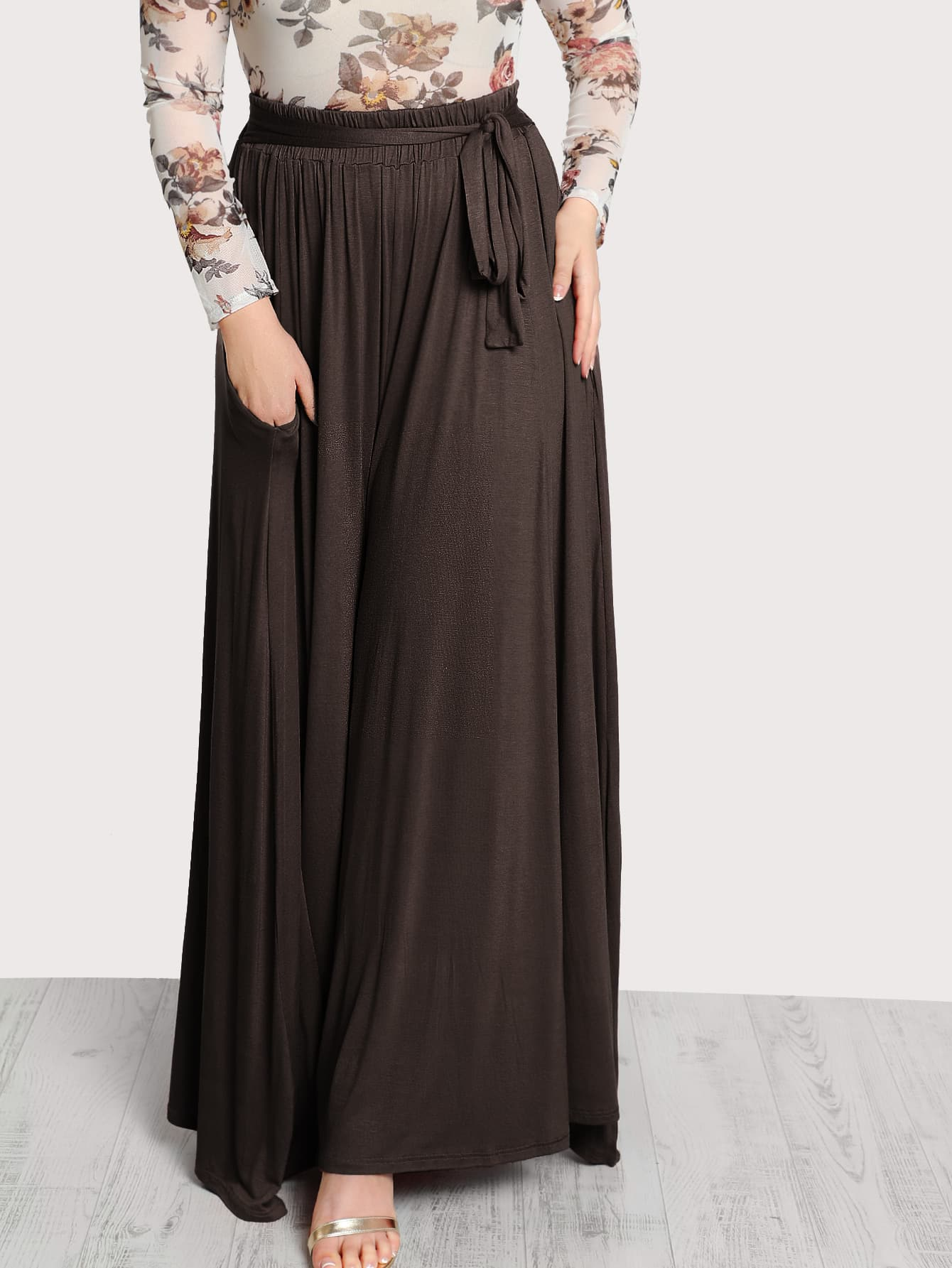 Image of High Rise Front Tie Flowy Palazzo Pants