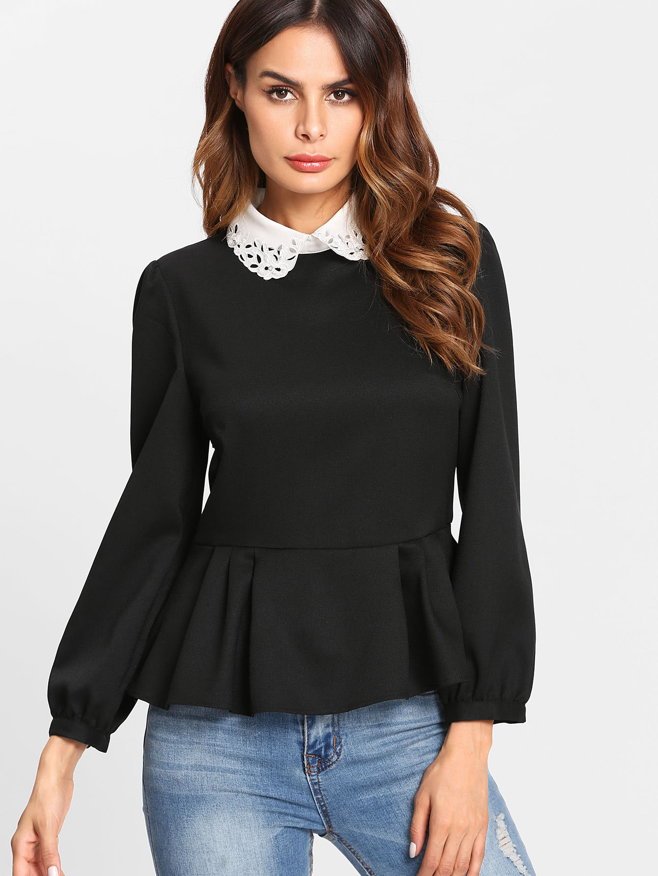 Peplum Top With Contrast Eyelet Embroidered Collar