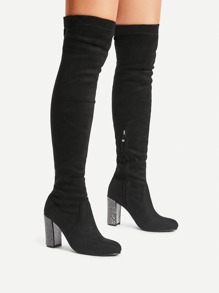 Side Zipper Chunky Heeled Suede Boots