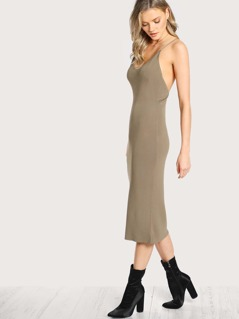 Knit Solid Sleeveless Bodycon Dress OLIVE