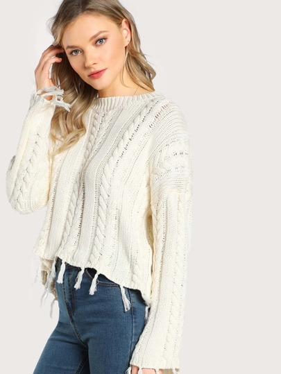 Frayed Cable Knit Sweater IVORY