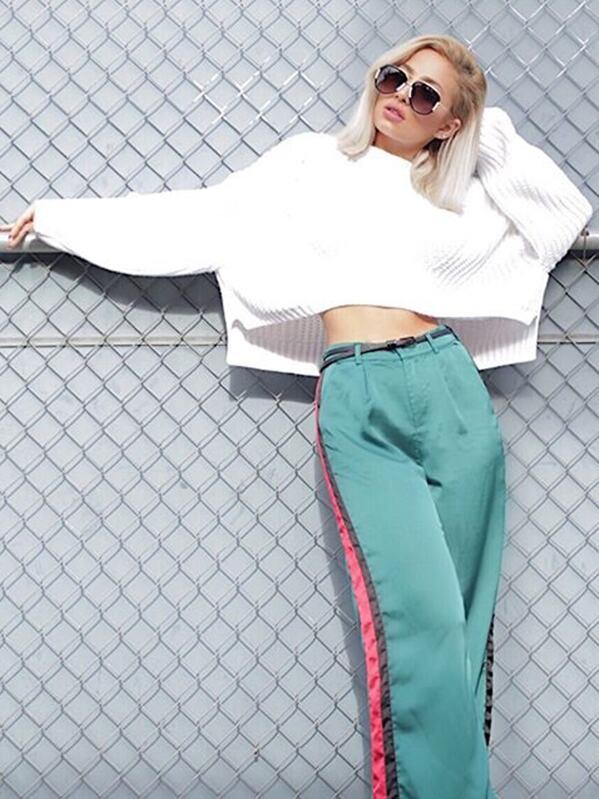 Drop Shoulder Lantern Sleeve Crop Sweater, Abigail Plunk