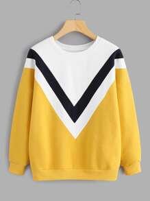 Drop Shoulder Chevron Panel Sweatshirt
