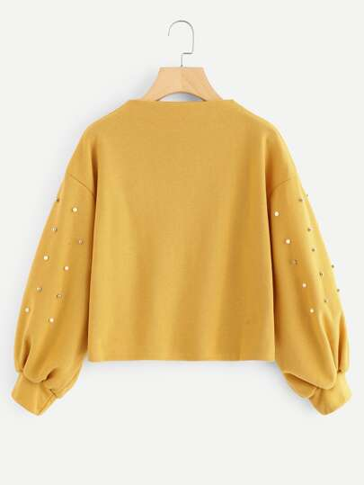 Lantern Sleeve Pearl Beaded Sweatshirt