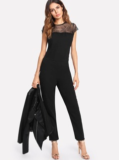 Floral Lace Shoulder Tailored Jumpsuit