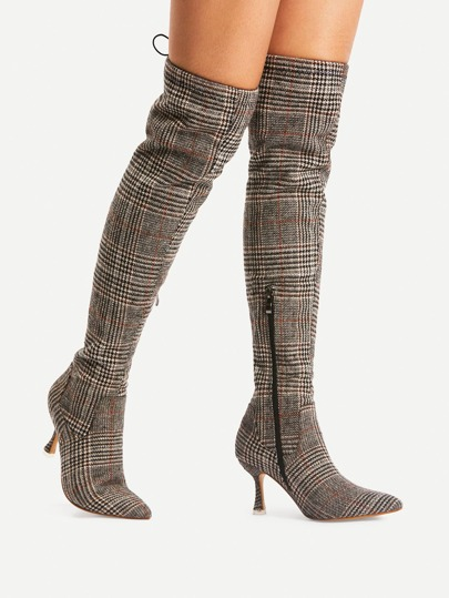 Gingham Print Pointed Toe Lace Up Boots