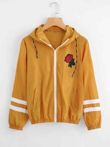 Varsity-striped Zip Up Hooded Jacket